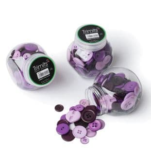 BP012 Jar of Craft Buttons: Assorted Purple: Pack of 3