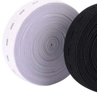 Button hole elastic 25mtrs 19mm