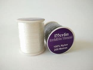 C00468A Merlin Nylon Filament Invisible Sewing Thread - 200m - Clear or Black