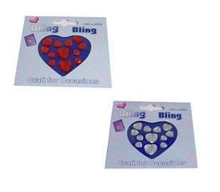C0298 Bling Bling: Diamantes: Hearts - Full Colour Range