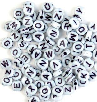CF155 Beads: Alphabet: Black / White