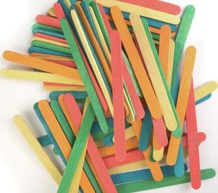 CF162 Wooden Sticks: Coloured: Pack of 80