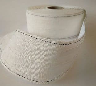 "E00027 75mm/3"" Curtain Tape - White - 50m"