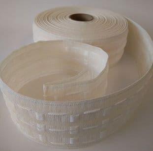 "E00030 75mm/3"" Curtain Tape - Cream - 50m"