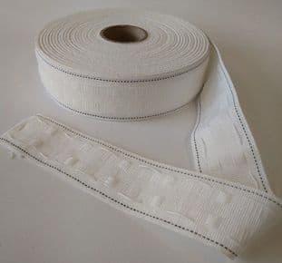 "E00042 50mm/2"" Curtain Tape - White - 50m"