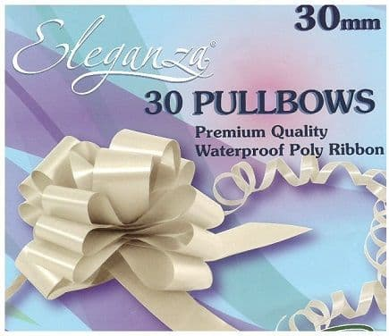 Eleganza poly pull bows 30mm  30 bows per pack