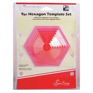 ERGG07.PNK Template Set: 9 Piece Hexagonal