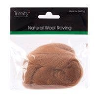 FW10.03 Natural Wool Roving: 10g : Coffee