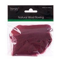 FW10.304 Natural Wool Roving: 10g : Wine
