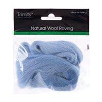 FW10.307 Natural Wool Roving: 10g : Light Blue