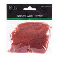 FW10.310 Natural Wool Roving: 10g : Sienna