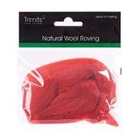 FW10.311 Natural Wool Roving: 10g : Cranberry