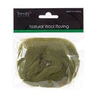 FW10.312 Natural Wool Roving: 10g : Lime