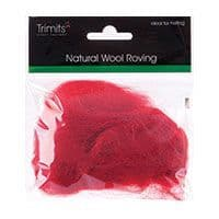 FW10.324 Natural Wool Roving: 10g : Dark Red