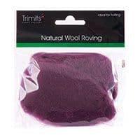 FW10.326 Natural Wool Roving: 10g : Mauve