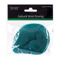 FW10.328 Natural Wool Roving: 10g : Grass Green
