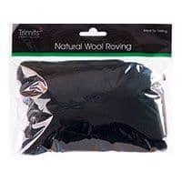 FW50.303 Natural Wool Roving: 50g : Black