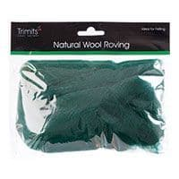 FW50.328 Natural Wool Roving: 50g : Grass Green