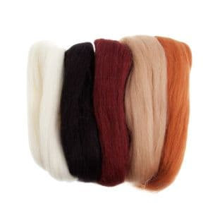 FW50.AS1 Natural Wool Roving: 50g : Assorted Browns