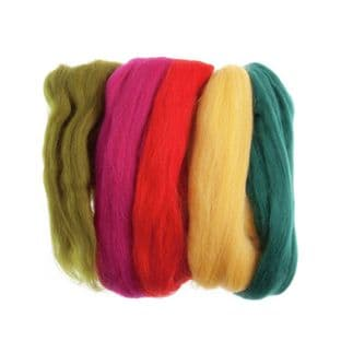 FW50.AS2 Natural Wool Roving: 50g: Assorted Brights