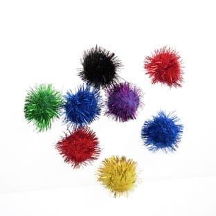 Glitter Pompom: 1.3cm (1/2in): Pack 12 - Full Colour Range