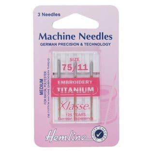 H108.T Embroidery Machine Needles: Titanium 75/11