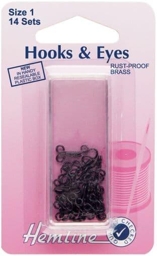 H401.1 Hooks and Eyes: Black - Size 1