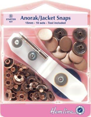 H407S.B Anorak Snaps: Bronze - 15mm