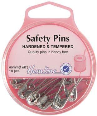 H410.3 Safety Pins: 46mm - Nickel - 18pcs