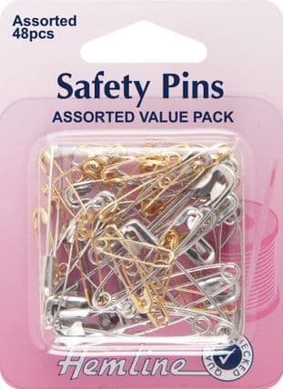 H415.99 Safety Pins: Assorted Value Pack - 48pcs