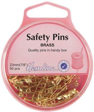 H419.00 Safety Pins: Brass - 23mm - 50pcs