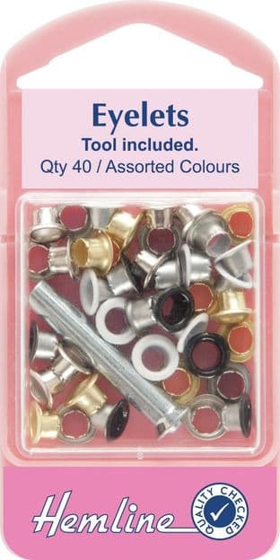 H435 Eyelets with Tool: Asstd Colours - 5.5mm - 40pcs