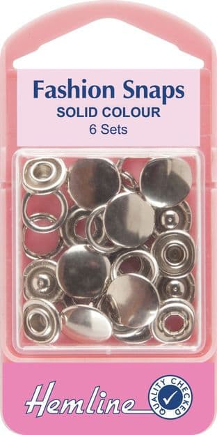 H440\SIL Fashion Snaps: Silver - Solid Top, 11mm - 6 Sets