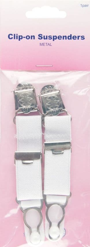 H464.CW Clip-on Suspenders: White - 1 pair
