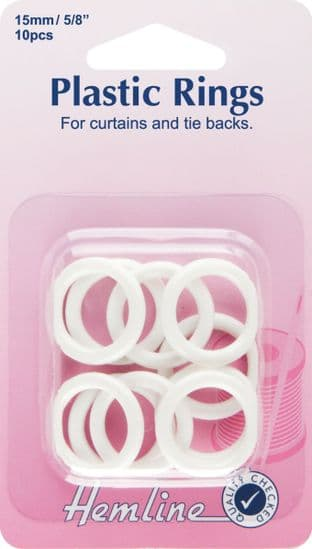 H471.15 Plastic Curtain Rings: White - 15mm - 10pcs