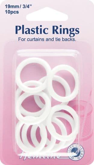 H471.19 Plastic Curtain Rings: White - 19mm - 10pcs