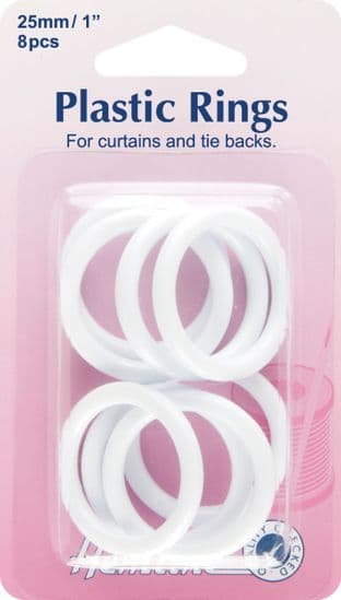 H471.25 Plastic Curtain Rings: White - 25mm - 10pcs