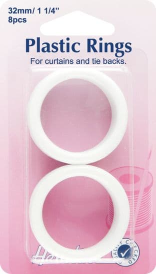 H471.32 Plastic Curtain Rings: White - 32mm - 10pcs