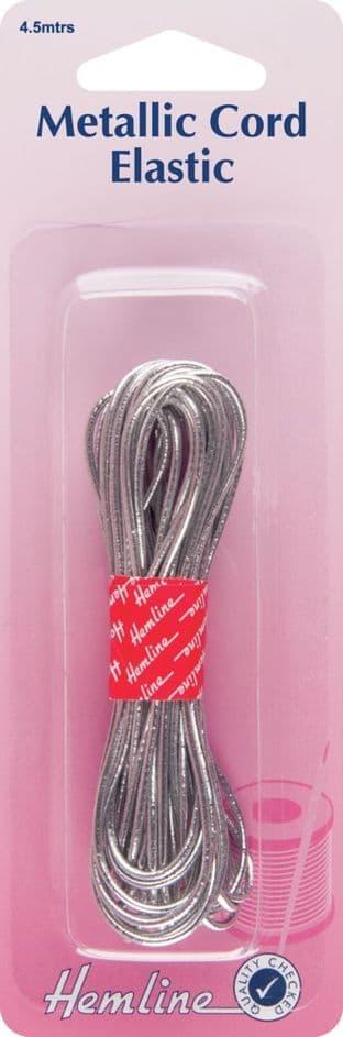 H615.SR Metallic Cord Elastic: Silver - 4.5m x 1.3mm