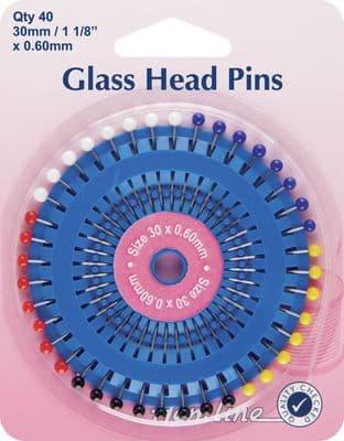 H667 Glass Head Pins: Nickel - 30mm, 40pcs