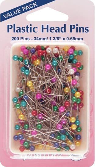 H668.20 Plastic Head Pins: Nickel - 38mm - 200pcs