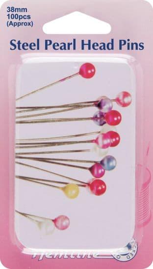 H669.PT Steel Pearl Head Pins in Tin: Nickel - 38mm, 100pcs