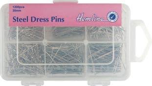 H670.1200 Steel Dress Pins: Nickel - 30mm, 1200pcs