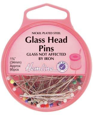 H679 Glass Head Pins: Nickel - 34mm, 95pcs