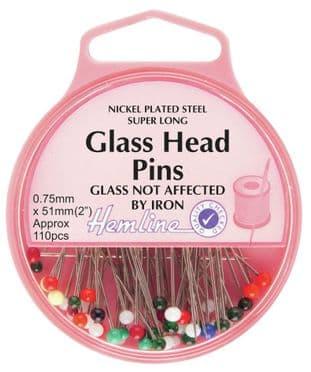 H679.XL Glass Head Pins: Nickel - 51mm, 110pcs