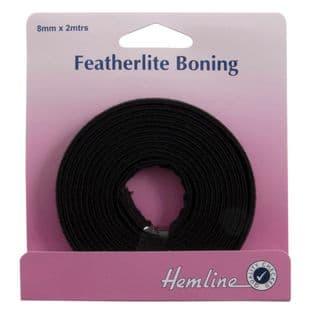 H696.8.B Featherlite Boning: Black - 2m x 8mm