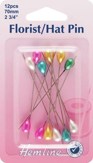 H711.AC Multi-Coloured Florist/Hat Pins: 70mm, 12pcs