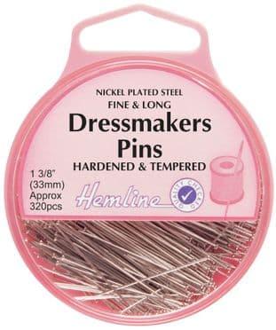 H718 Fine Dressmakers Pins: Nickel - 33mm, 320pcs