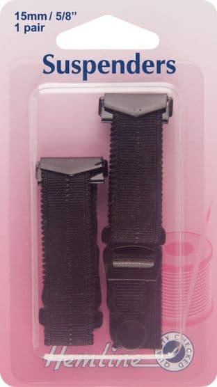 H775\BLK Suspenders: Black - 15 x 170mm