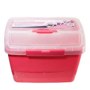 MR4609.PINK Sewing Box: Plastic Caddy: Pink